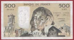 """France 500 Francs """"Pascal"""" Du 03/03/1988.D--ALPH.S.277 --  .dans L 'état (P.217) - 500 F 1968-1993 ''Pascal''"""