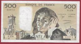 """France 500 Francs """"Pascal"""" Du 05/05/1988.A--ALPH.H.278 --  .dans L 'état (P.219) - 500 F 1968-1993 ''Pascal''"""