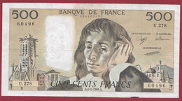 """France 500 Francs """"Pascal"""" Du 05/05/1988.A--ALPH.U.278 --  .dans L 'état (P.220) - 500 F 1968-1993 ''Pascal''"""