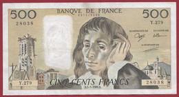 """France 500 Francs """"Pascal"""" Du 05/05/1988.B--ALPH.Y.279 --  .dans L 'état (P.221) - 500 F 1968-1993 ''Pascal''"""