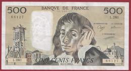 """France 500 Francs """"Pascal"""" Du 05/05/1988.D--ALPH.L.281 --  .dans L 'état (P.222) - 500 F 1968-1993 ''Pascal''"""