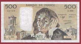 """France 500 Francs """"Pascal"""" Du 05/05/1988.F--ALPH.A.283 --AUCUN TROU D EPINGLE --  .dans L 'état (P.223) - 500 F 1968-1993 ''Pascal''"""