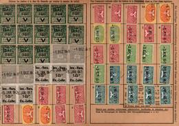 Lot De 6 Cartes De Quittance TIMBRES FISCAUX / SOCIO-POSTAUX / ALSACE LORRAINE - Revenue Stamps