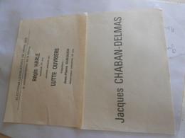 Papier Vieux  Election Bulletin  Chaban  Delmas /   Lutte Ouvrière - Collections