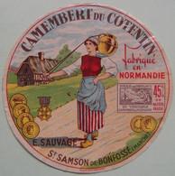 Etiquette Camembert - La Laitière Du Cotentin - E.Sauvage à St-Samson-de-Bonfossé 50 Normandie - Manche   A Voir ! - Cheese
