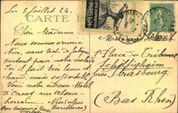 """1924, Postkarte Mit Seltener Vignette """"JEUX OLYMPIQUES PARIS 1924"""" Nach Strasbourg. Vignette Um Den Rand Geklebt. - Cartas"""