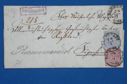 AA16 CONFEDERATION  ALLEMAGNE NORD   BELLE  LETTRE RECOM.   1871   DARMSTADT  + 3 ET 7 KREUZER   + AFFRANCH. INTERESSANT - Norddeutscher Postbezirk