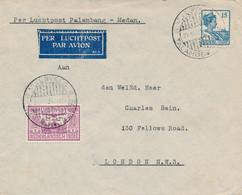 Nederlands Indië - 1931 - 15c + 10c Luchtpost Op LP-cover Van KB VLIEGVELD TALANGBETOETOE Naar London / UK - Netherlands Indies