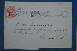 AA16 CONFEDERATION  ALLEMAGNE NORD   BELLE  LETTRE    1869 FRANKFURT    DARMSTADT  + 3 KREUZER   + AFFRANCH. INTERESSANT - Norddeutscher Postbezirk