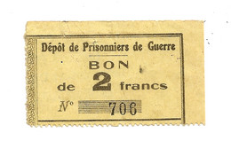1914- 1918 // P.O.W. // Bon De Prisonnier De Guerre // CHAMPALLEMENT (Nièvre) // 2 Francs - Bonds & Basic Needs