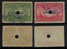 Costa Rica 1936 2 Official Stamp With Perfin Circle Perforated Perfore Lochung - Costa Rica