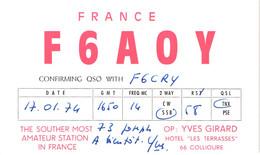 """FR66 COLLIOURE - Carte Radio Amateur - Hôtel """"les Terrasses"""" - Belle - Collioure"""