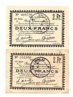 1914-1918 // Ville De DOUAI(59 Nord) // Août & Octobre 1914 // 2 Bons Deux Francs - Bonds & Basic Needs