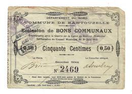 1914-1918 // COMMUNE De BANTOUZELLE (59 Nord) // Juin 1915 // Bon De Cinquante Centimes - Bonds & Basic Needs