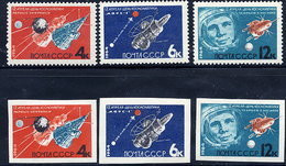 SOVIET UNION 1964 Cosmonauts Day Perforated And Imperforate Sets MNH / **.  Michel 2895-97A-B - Unused Stamps