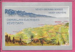 SUISSE. Horaires D'été 1907 Chemins De Fer VEVEYSANS. VEVEY-CHAMBY-CHATEL SAINT DENIS - Europe SUISSE.  Parfait état - Europa