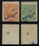El Salvador 2 Official Stamp With Perfinoficial Perfore Lochung - El Salvador
