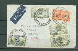 New Zealand Seven Stamps - 2 Perfs Royals Aircraft Coat Of Arms Auckland To Canada 1947 A04s - Covers & Documents