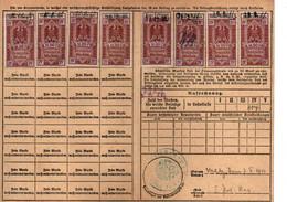 Lot De 8 Cartes De Quittance TIMBRES FISCAUX / SOCIO-POSTAUX / ALSACE LORRAINE / 13 Semaines / Dreizehn Wochen - Revenue Stamps
