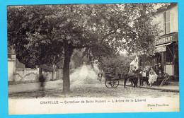 Rare CPA CHAVILLE Carrefour De Saint Hubert - L'Arbre De La Liberté - Cp Animée Attelage Café 92 Hauts De Seine - Chaville