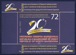 North Macedonia 2021 20 Years Anniversary Ohrid Framework Agreement, Block Souvenir Sheet MNH - Mazedonien