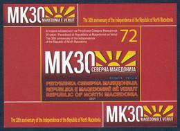 North Macedonia 2021 30 Years Anniversary Independence Falgs, Block Souvenir Sheet MNH - Mazedonien