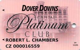 Dover Downs Racetrack/Casino - Silver Metallic Slot Card - 2 Lines Text In Reverse Paragraph - Casinokarten