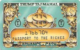 Trump Taj Mahal Casino Atlantic City NJ - Slot Card - Passport To The Riches - Casinokarten
