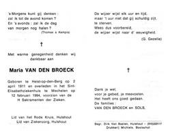 Maria Van Den Broeck (1911-1994) - Devotion Images