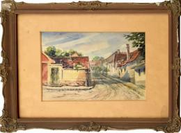 Jelzés Nélkül: Kisvárosi Utca. Akvarell, Papír, Jelzett. Sérült üvegezett Keretben 18,5×26 Cm - Sin Clasificación