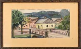 Jelzés Nélkül: Falusi Utca Híddal. Akvarell, Papír. Üvegezett Fa Keretben. 29,5x46 Cm - Sin Clasificación