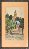 Jelzés Nélkül: Utcarészlet Templomtoronnyal (Gönc), 1961. Akvarell, Papír. Üvegezett Fa Keretben (paszpartu által Félig  - Sin Clasificación