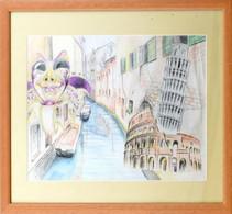 Jelzés Nélkül: Bella Italia. Ceruza, Papír, üvegezett Fa Keretben, 29×41 Cm - Sin Clasificación