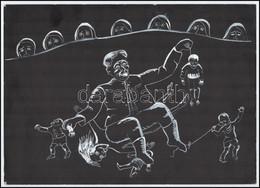 Jelzés Nélkül: Kommunizmus Tempera, Papír, Hátoldalon: Kommunizmus 1982.II.7. 25x35cm - Sin Clasificación