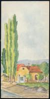 Olvashatatlan Jelzéssel: Nagytétényi Részlet. Akvarell, Papír, 10,5×20,5 Cm - Sin Clasificación