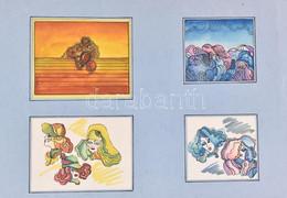 Jelzés Nélkül, 4 Db Mű Egy Paszpartuban: Illusztrációk. Akvarell, Tus, Papír. 7,5x8,5 és 9x11,5 Cm Közötti Méretekben. - Sin Clasificación