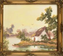 Jelzés Nélkül: Vízparti Házikó. Olaj, Papír. Dekoratív üvegezett Fa Keretben. 24×30 Cm - Sin Clasificación