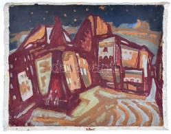 Jelzés Nélkül, Feltételezhetően 1960-90 Között Működő Festő Alkotása: Utcarészlet. Olaj, Vászon, Jelzett, Vakkeret Nélkü - Sin Clasificación