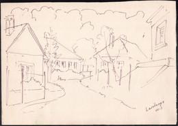 Jelzés Nélkül: Lasztonyai Utca (Zala Megye). Filctoll, Papír. Lapméret: 21,5x30 Cm - Sin Clasificación