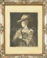 Jelzés Nélkül: Hölgy Portréja. Rézkarc, Papír. Dekoratív, Bal Alsó Sarkában Javított Fa Képkeretben, 16,5×13 Cm - Sin Clasificación