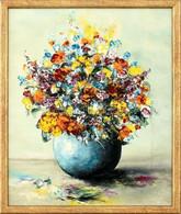 Jelzés Nélkül: Virág Csendélet. Olaj, Karton. Keretben. 30x25 Cm - Sin Clasificación