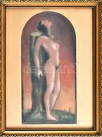 Jelzés Nélkül: Női Akt. Pasztell, Papír. Üvegezett Fa Keretben, 35×17 Cm - Sin Clasificación