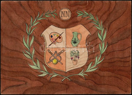 Jelzés Nélkül: Fiktív Címer. Akvarell-tus, Papír, 29×21 Cm - Sin Clasificación