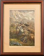 Rege A Csoda-szarvasról. Litográfia, Papír. Üvegezett Fa Keretben. 34x23 Cm - Gravados