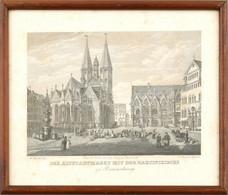 """Cca. 1850 ,,Der Altstadtmarkt Mit Der Martinikirche Zu Braunschweig"""" Braunschweig Történelmi Látképe A Márton-templommal - Gravados"""