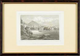 1872 Riva Am Gardensee (Kilátás A Garda-tóról). Rorich & Son N. Rohbock, Acélmetszet, Papír. Üvegezett Müanyag Keretben. - Gravados