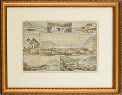 Cca 1860-1890 Gmunden, Traunkirchen és Környéke Acélmetszet, Papír, Jelzés Nélkül. Üvegezett Fa Keretben. 22×31,5 Cm Cm - Gravados