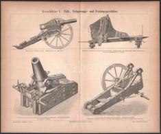 Cca 1870 Ágyúkat ábrázoló Két Rotációs Fametszet 21x34 Cm - Gravados