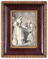 Cca 1850 Árpád-házi Szent Erzsébet Adománya Egy Koldusnak, Metszet, Véste: Axmann József, üvegezett Keretben, Kisebb Gyű - Gravados