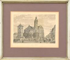 Jakob Alt (1789-1872) Rajza Után, Petersen Metszése, 1840-60 Körül: Kassa. Acélmetszet, Papír. Foltos. Üvegezett Fa Kere - Gravados